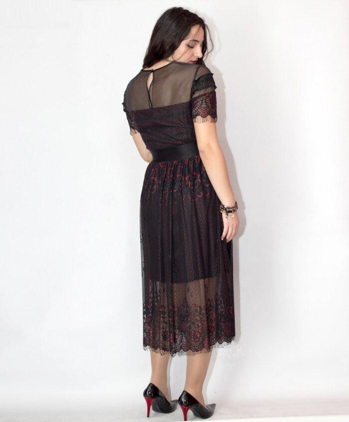 Φόρεμα με δαντέλα και τούλι 2