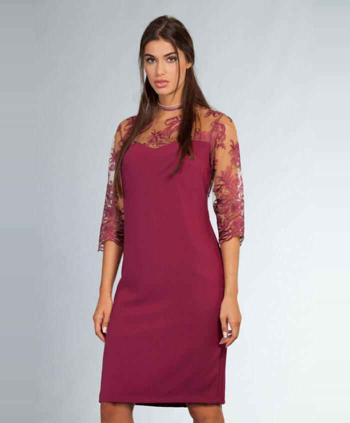 8ec977e07fc3 Φόρεμα με Δαντελένια Μανίκια