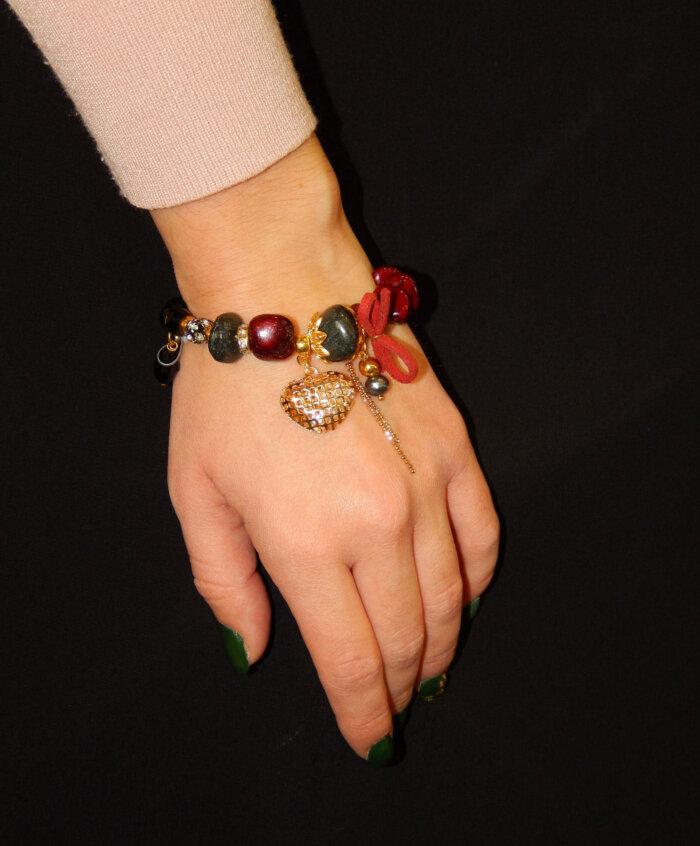 Βραχιόλι με μαύρες κόκκινες πέτρες 14 2