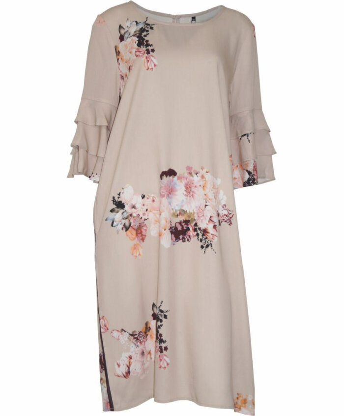 Φόρεμα φλοράλ με φλαμπαρά στα μανίκια
