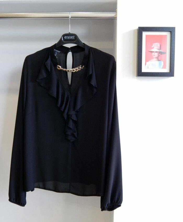 Μπλούζα μαύρη μουσελίνα με βολάν