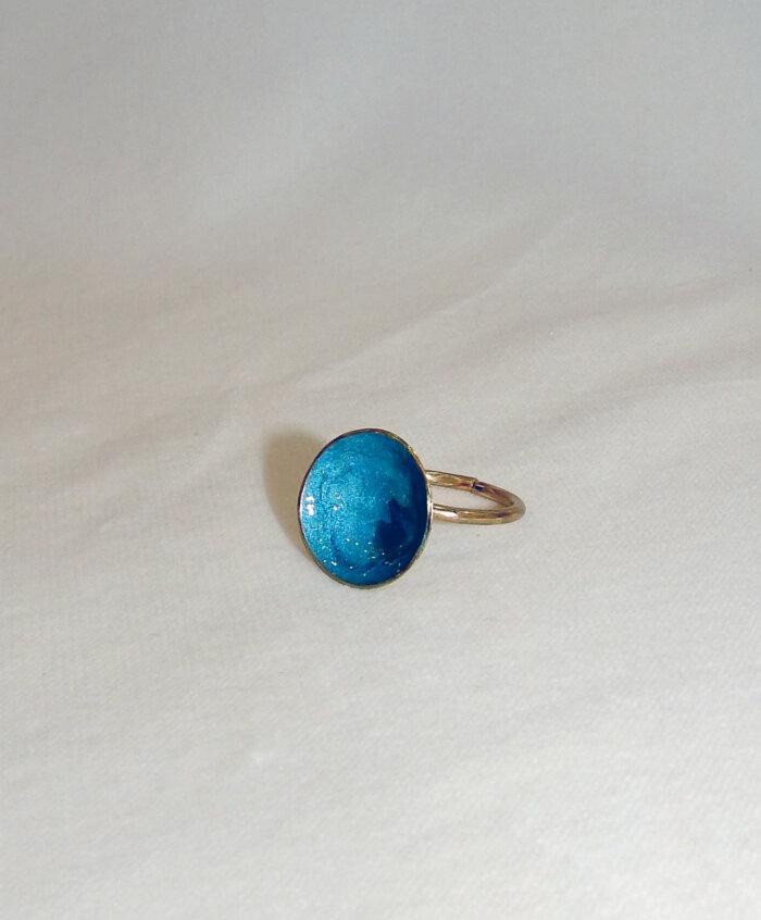 Δαχτυλίδι με γαλάζιο σμάλτο