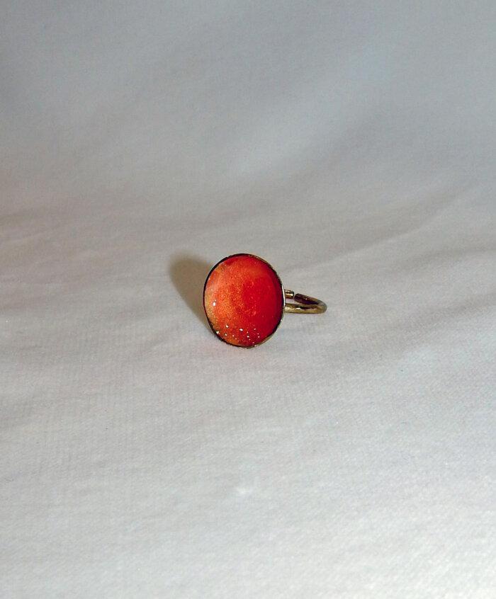 Δαχτυλίδι με πορτοκαλί σμάλτο