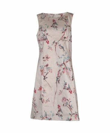 Φόρεμα αμάνικο εκρού με λουλούδια