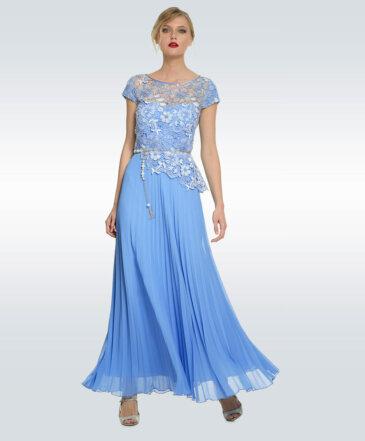 Φόρεμα Μάξι με Λευκή και Γαλάζια Δαντέλα