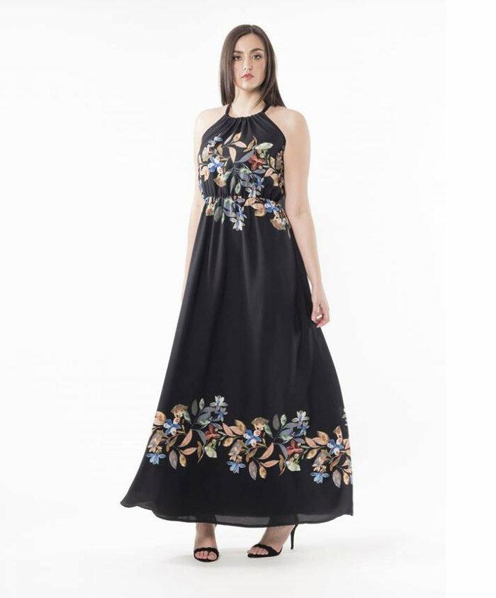 2f5004d02ad Φόρεμα μαύρο με παρτούς ώμους