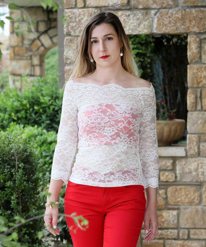7b4806dc865 Μπλούζα διάφανη δαντέλα εκρού   Vaya Fashion Boutique