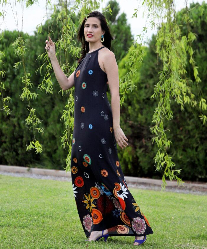 83a9210d817 Φόρεμα μάξι μαύρο εμπριμέ | Vaya Fashion Boutique
