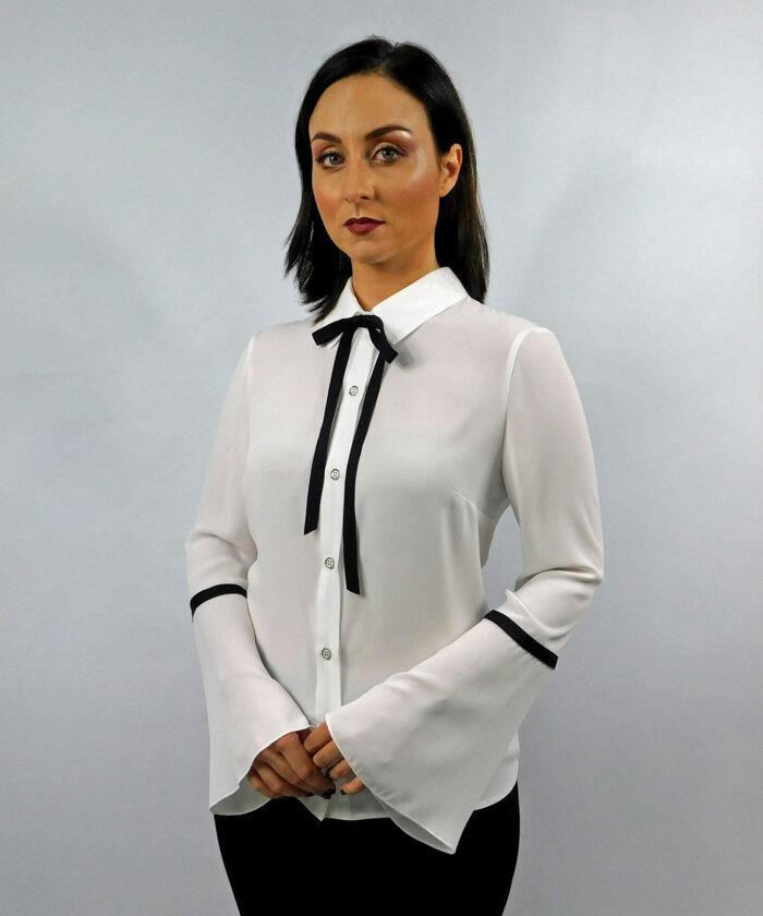 Πουκάμισο λευκό με μαύρες λεπτομέρειες  3739125cad3
