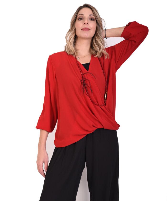 bae62ebe2c1c Μπλούζα κρουαζέ κόκκινη