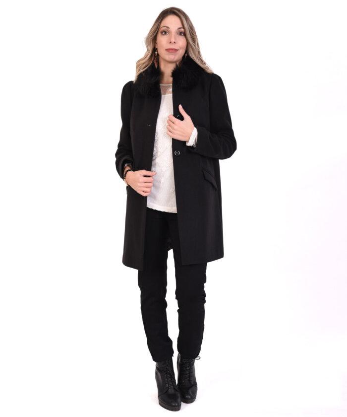Παλτό μαύρο με γούνινο γιακά  67643d039f3
