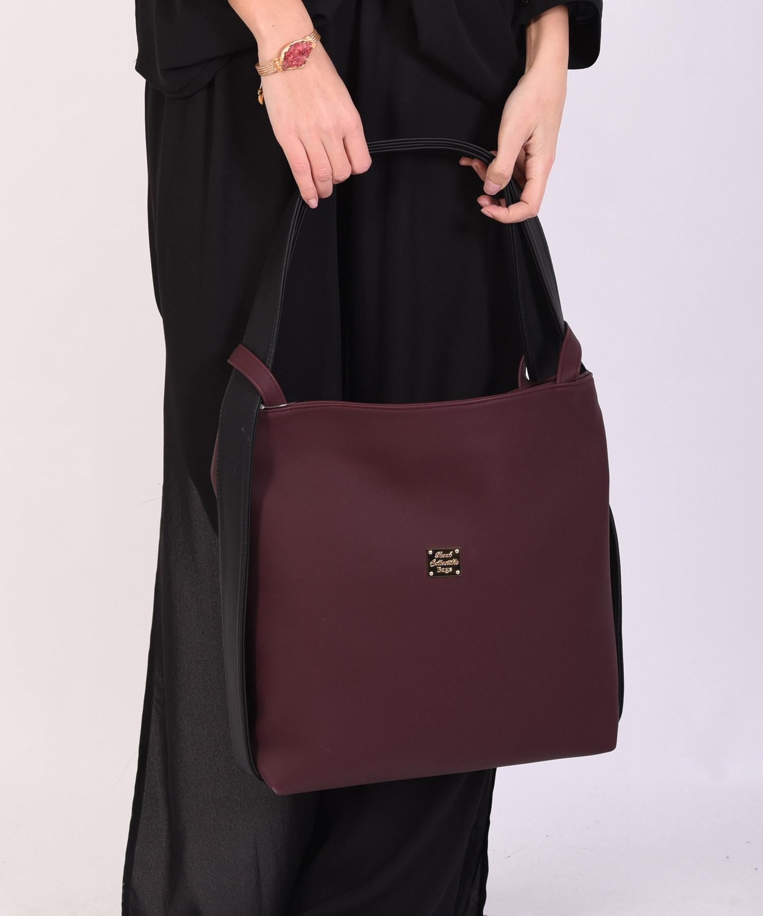 Τσάντα ώμου μεγάλη μπορντώ με μαύρο