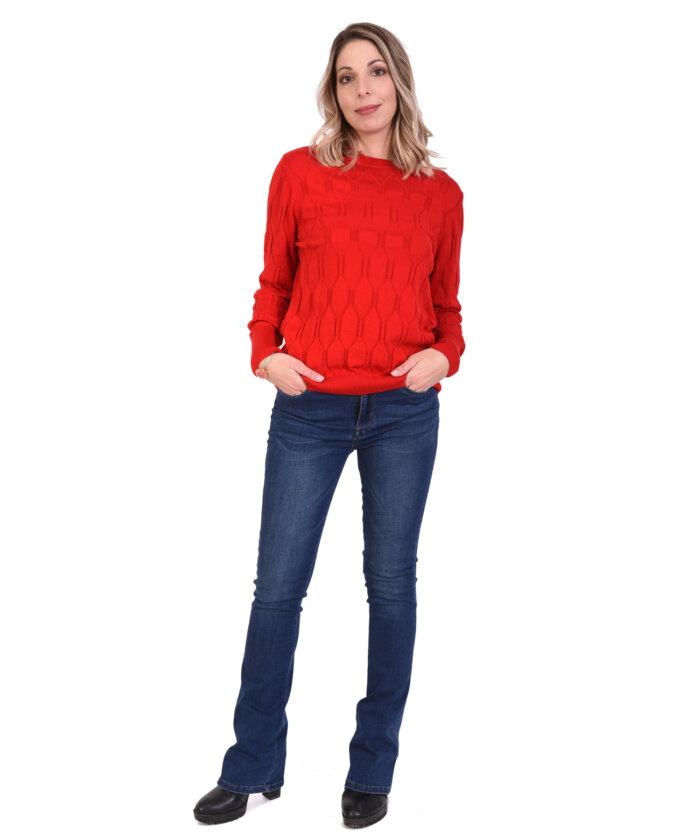 ee3d4dc548c8 Μπλούζα πλεκτή μακρυμάνικη κόκκινη