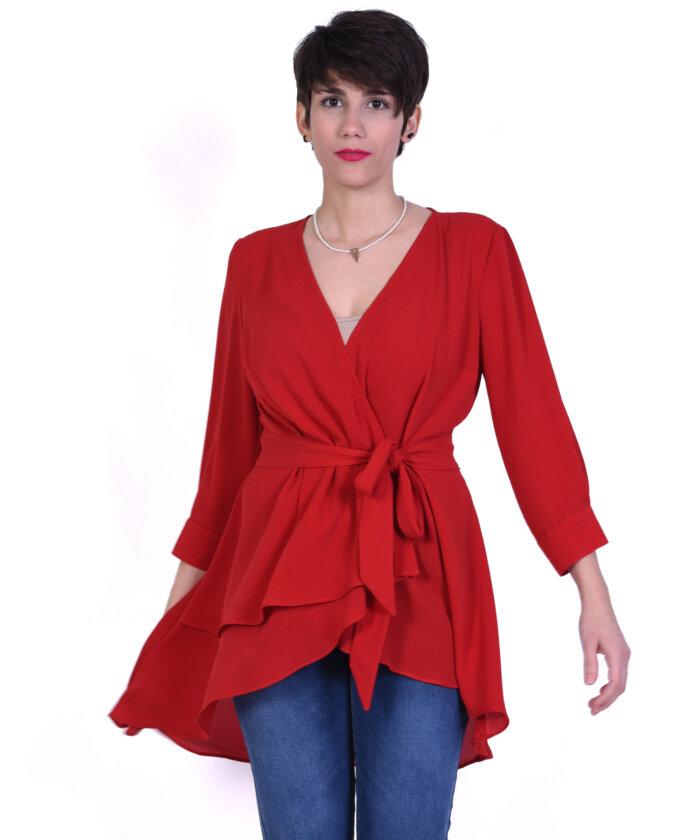 70e8be2f178c Κόκκινη-κρουαζέ. Μπλούζα κόκκινη Παντελόνι φλοράλ