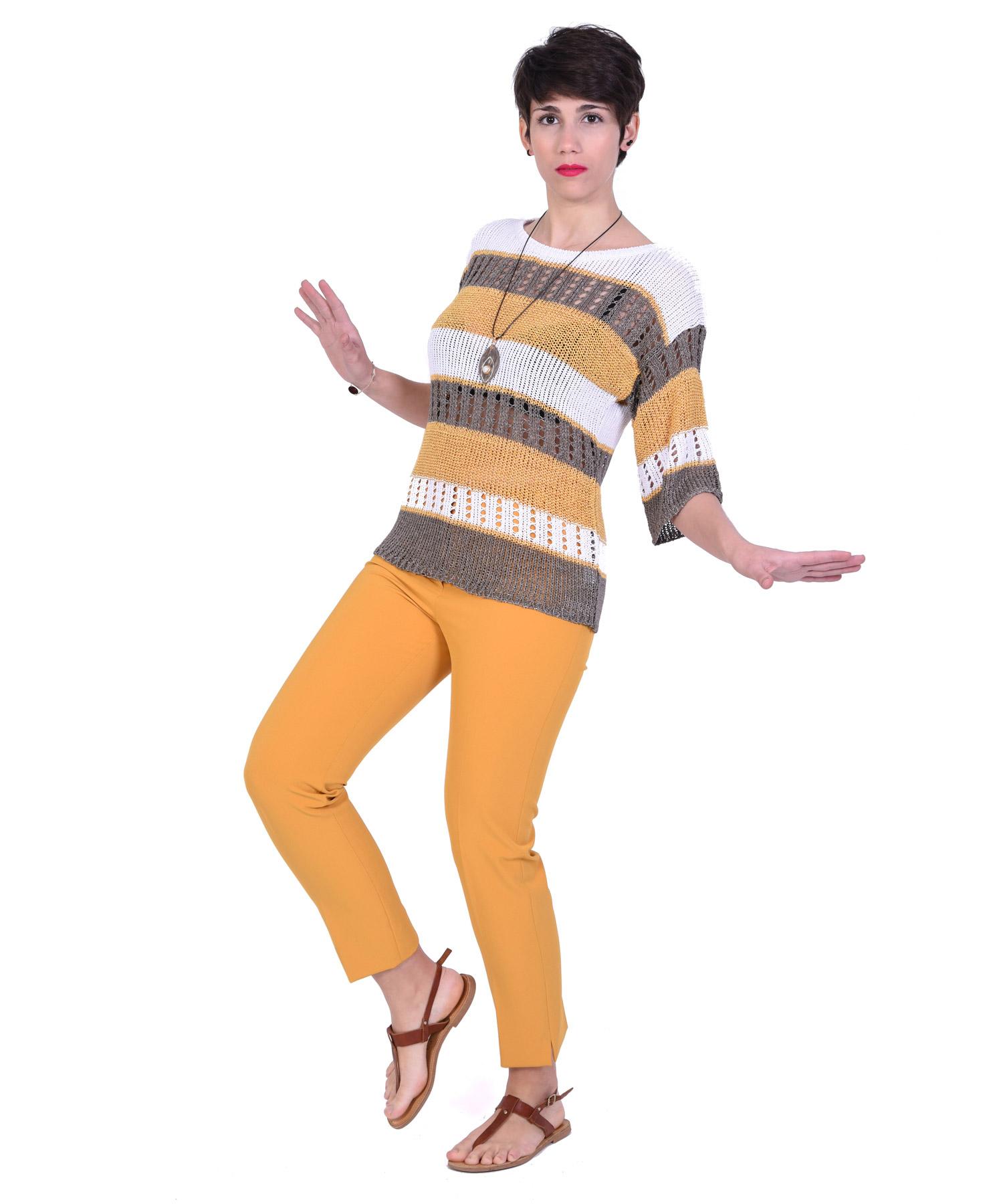 Παντελόνι κρεπ μουσταρδί