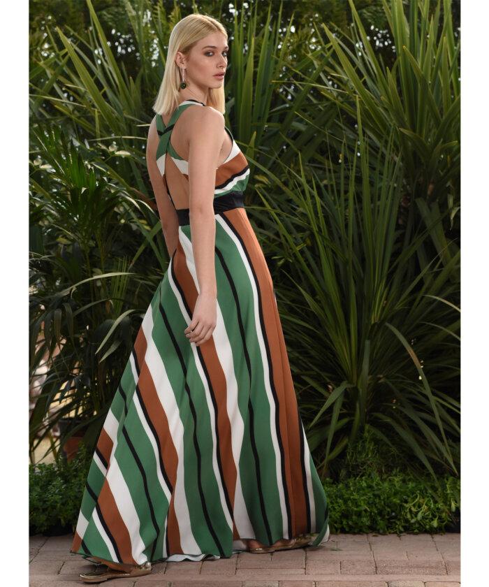 690a424a1e8e Φόρεμα Ριγέ Μάξι με Άνοιγμα στην Πλάτη