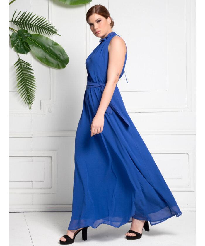 ee0a1b46cef8 Φόρεμα Μάξι Μπλε Ρουά