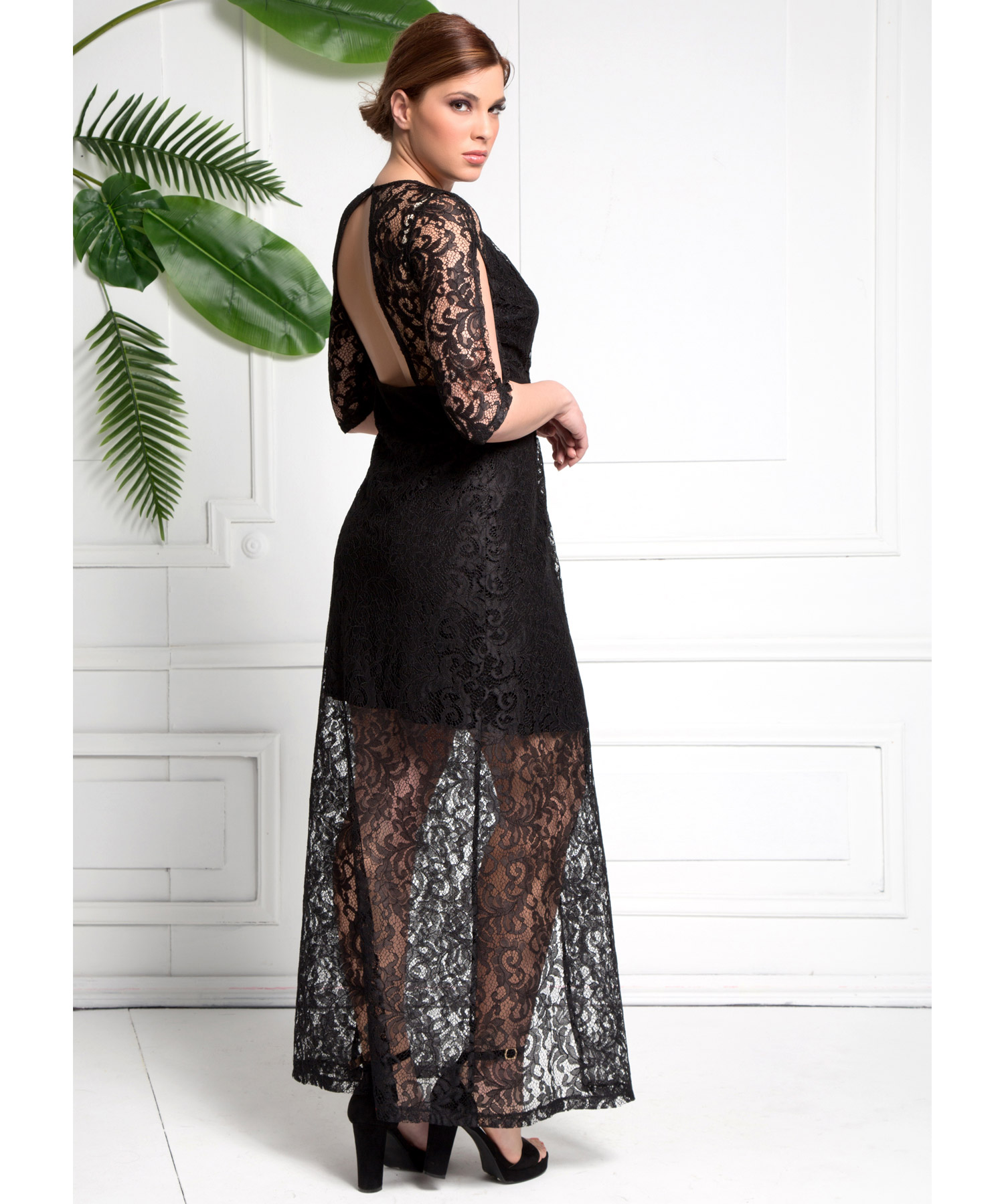 001bde155d3 Φόρεμα Μάξι με Μαύρη Δαντέλα