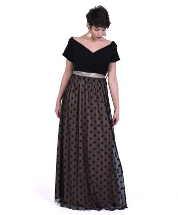 Φόρεμα Μάξι με Πουά Διαφάνεια