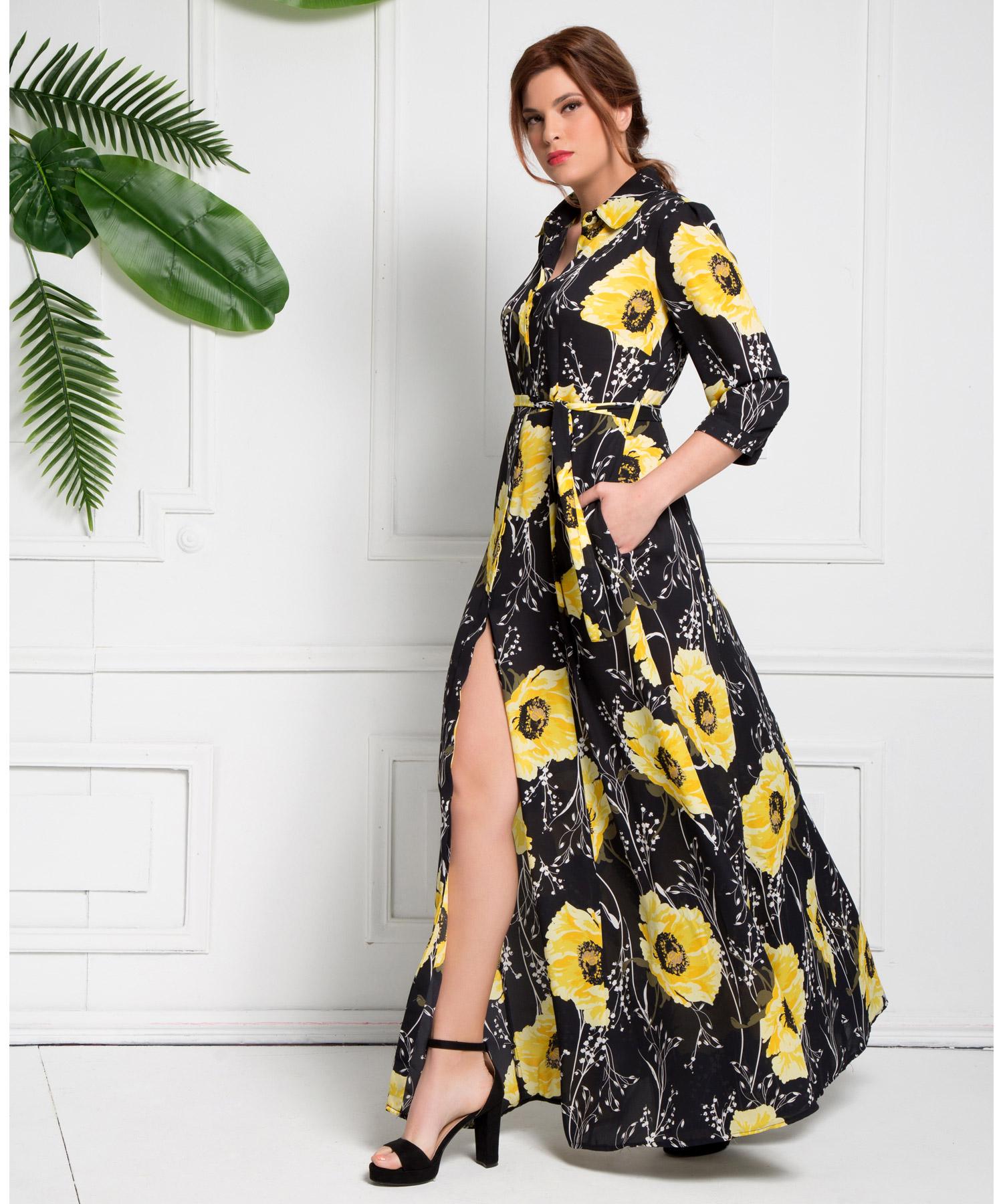 Φόρεμα Σεμιζιέ Φλοράλ Μάξι