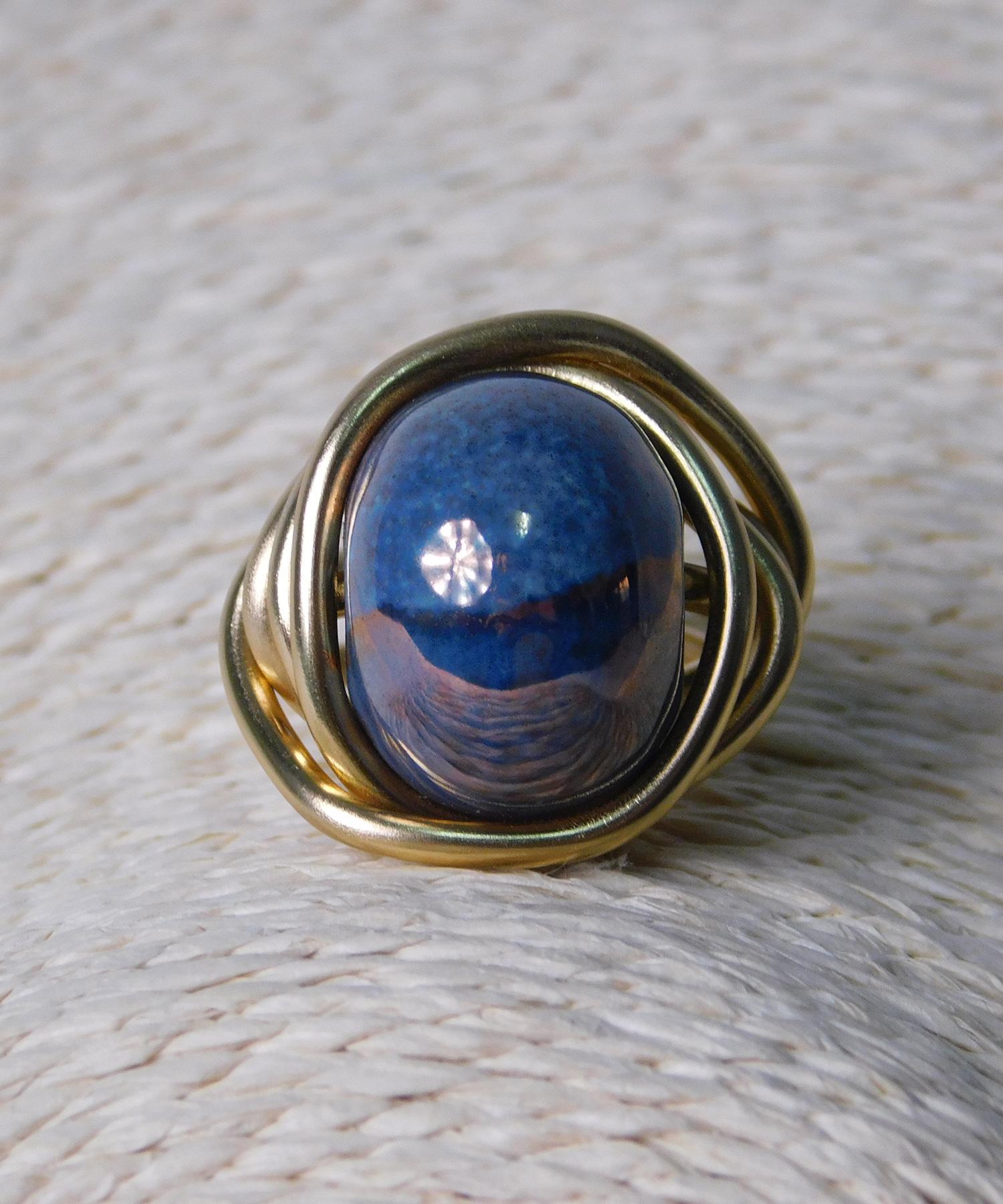 Δαχτυλίδι με Κεραμική Μπλε Χάντρα