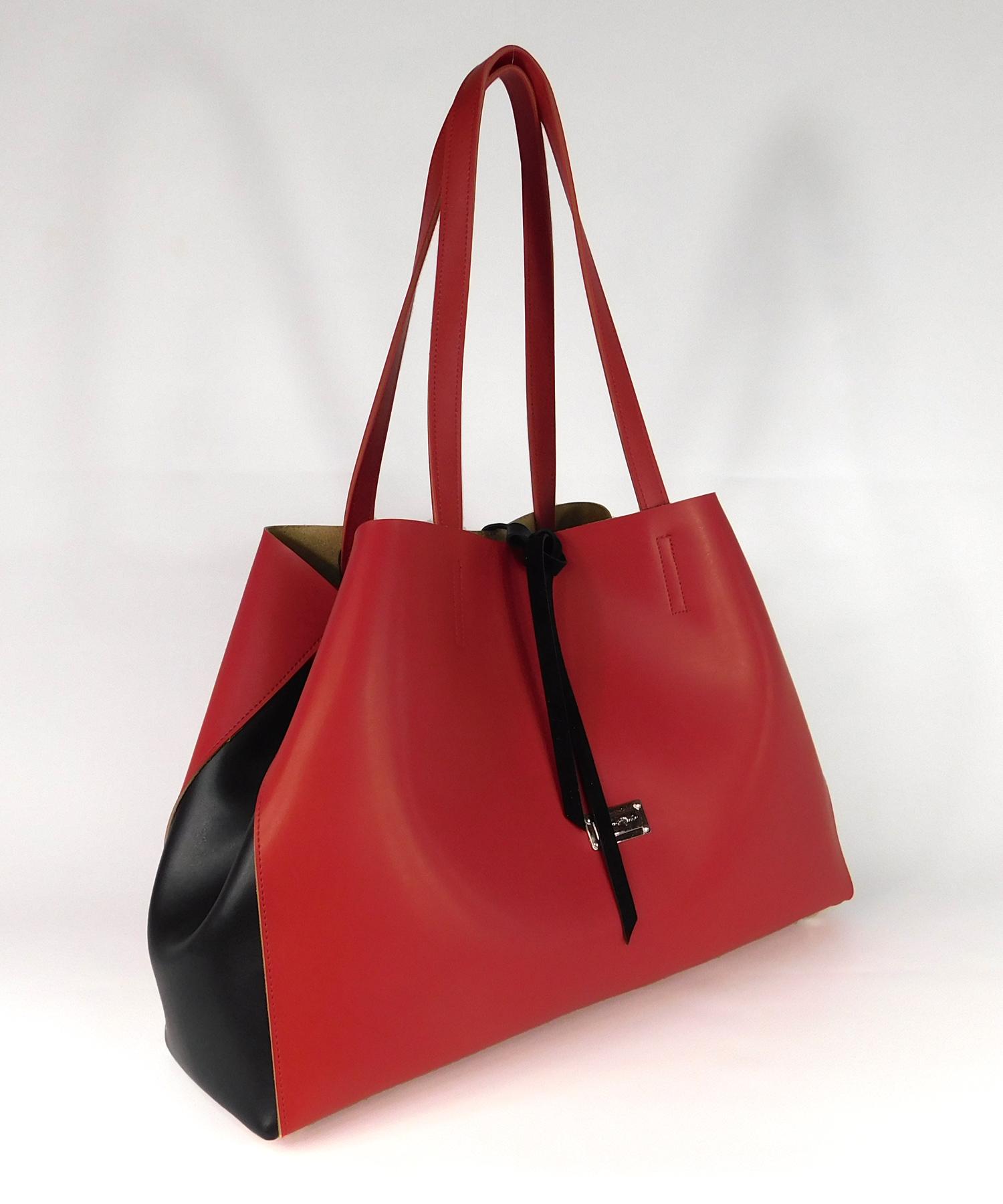 Τσάντα Ώμου Μεγάλη Κόκκινη Μαύρη