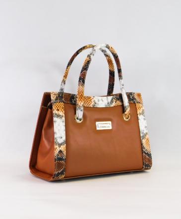 Τσάντα Χειρός Κανελί με Animal Print