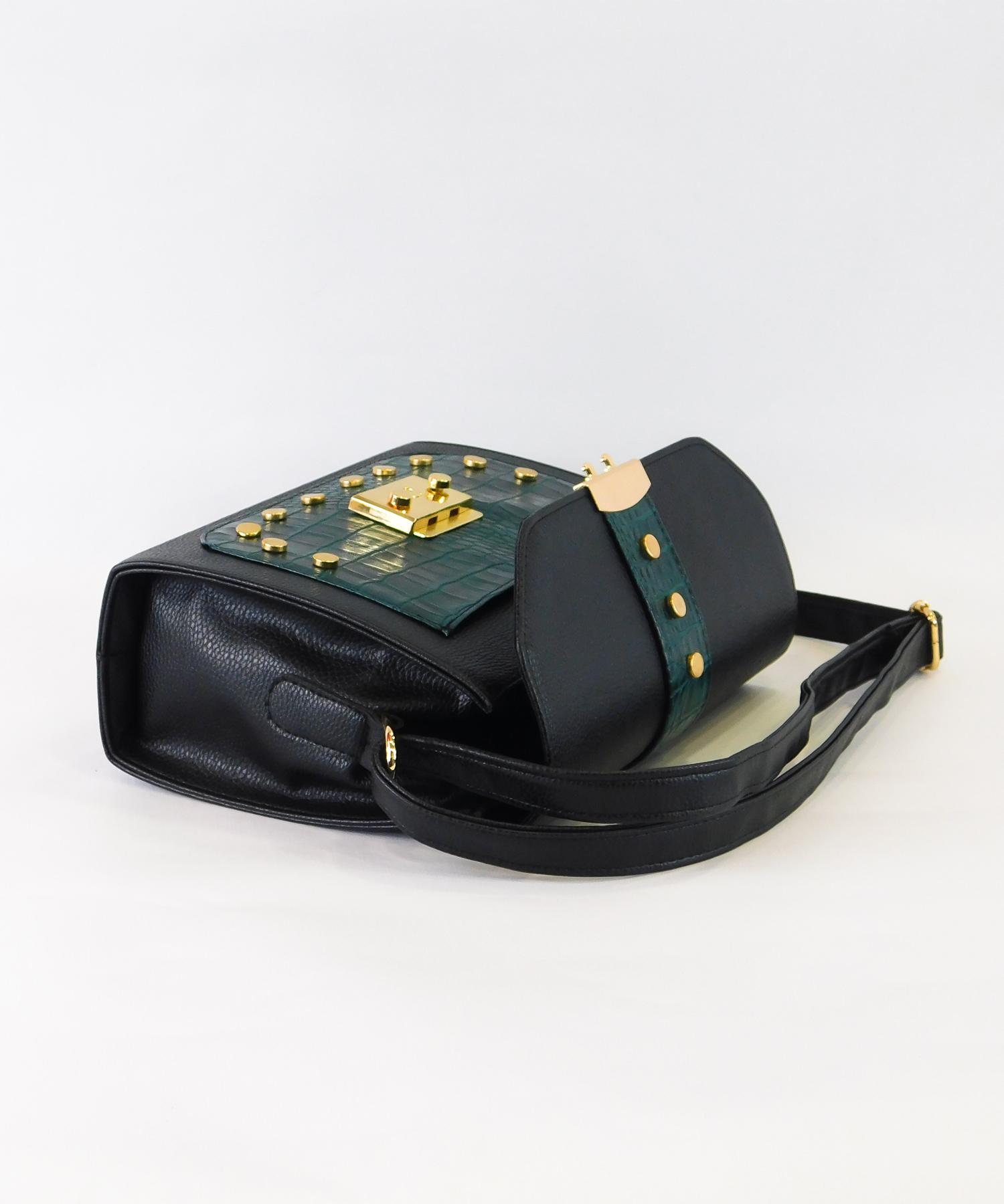 Τσάντα με Τρουκς Μαύρη με Κυπαρισσί