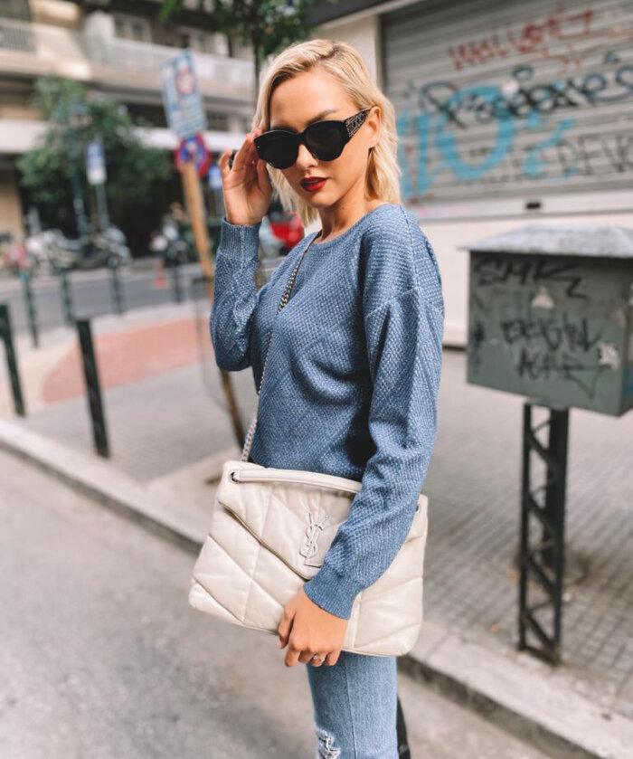 μπλούζα πλεκτή λούρεξ γαλάζια