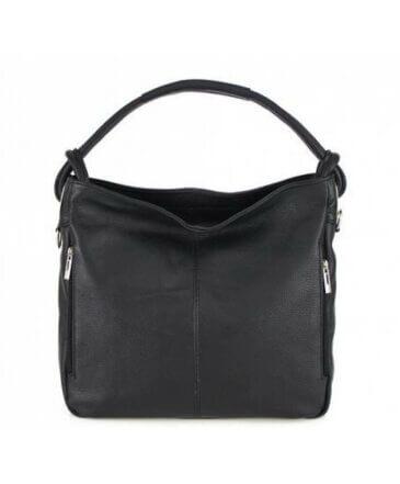 Irene Δερμάτινη Τσάντα Ώμου Μαύρη