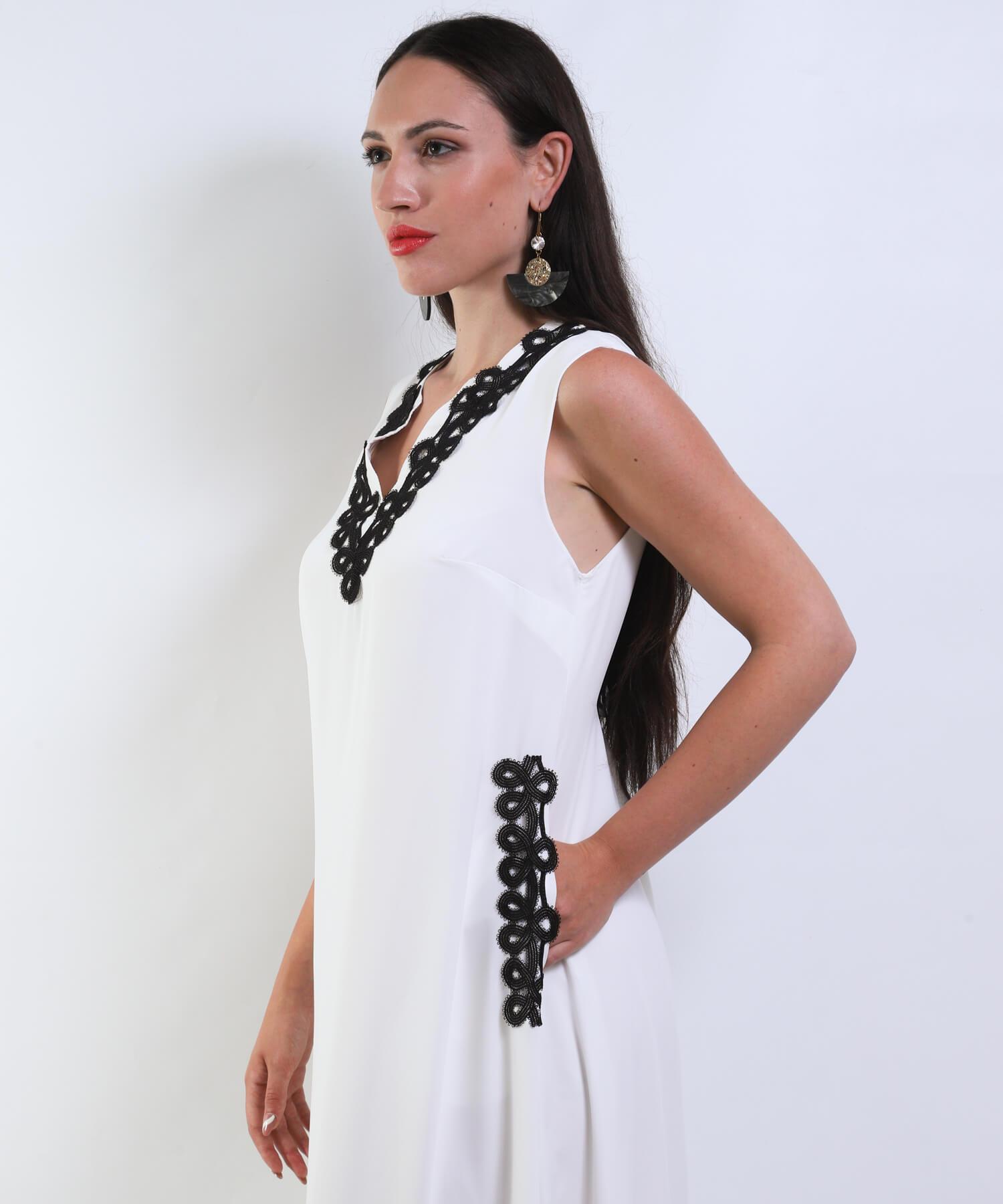 Φόρεμα Μάξι με Μαύρη Τρέσα